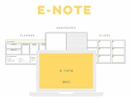 Baixe o e-note para fazer o planejamento e roteiro de suas apresentações