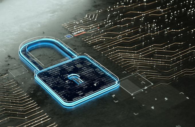 Bloqueio criptografado digitalmente com várias camadas de dados.  segurança da Internet